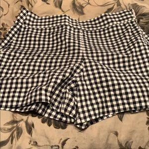 black and white plaid shorts